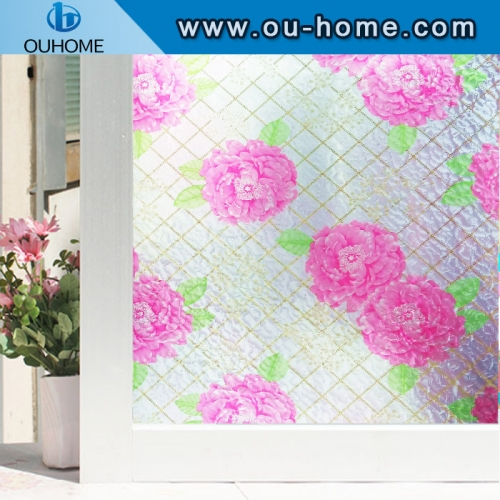 H48095 Stained Glass Window Film Sticker electrostatic Privacy Frosted film 3D Opaque decorative film