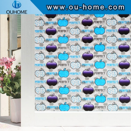 H22036 3D Static Window Film Decorative for Home Office Privacy Protective Statined Glass