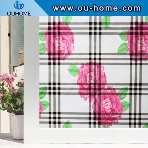 H22140 Bathroom window Sunscreen Waterproof Static Cling Cover Stained Flower Privacy Glass Window Film
