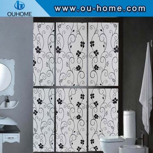 BT823 Black flower decorative stained window privacy film